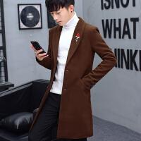 风衣男中长款韩版修身呢子大衣秋冬季发型师男装加厚潮流妮子外套