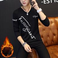 韩版修身冬季男士T恤长袖加绒加厚V领打底衫保暖上衣服男装体恤潮
