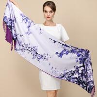 上海故事女士围巾披肩双层双面两用丝巾秋冬季婚宴旗袍长款礼盒装
