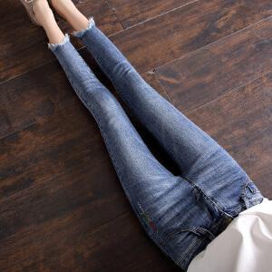 Freefeel2018秋冬新款女装面谈牛仔裤修身显瘦九分裤oy3099