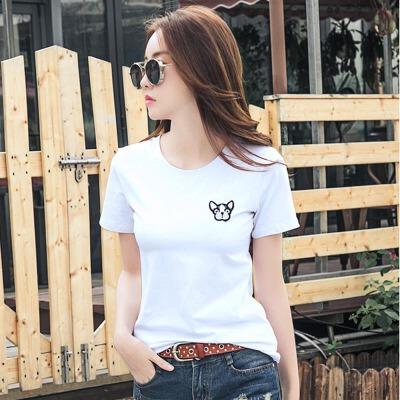 韩版刺绣修身棉质白色t恤女短袖夏季打底上衣新款半袖衫