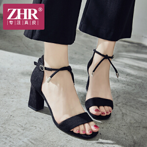 ZHR凉鞋女高跟优雅百搭包跟露趾粗跟鞋韩版休闲一字扣带方跟鞋2018夏新品