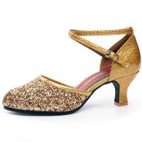 拉丁舞鞋女中跟高跟新款舞蹈鞋软底交谊广场舞跳舞女鞋