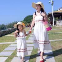 2018新款亲子装母女沙滩长裙纯色波西米亚海边度假裙