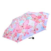 直销雨伞 超轻防晒太阳伞防紫外线遮阳伞黑胶女折叠晴雨五折伞