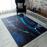 现代抽象家用客厅地毯 榻榻米沙发茶几地垫卧室床尾毯夏季薄款 深蓝色 深海迷踪