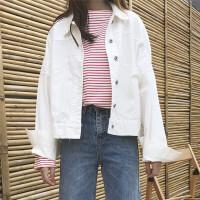 春季BF风深蓝色宽松牛仔外套女 韩国工装大口袋翻领大码长袖夹克