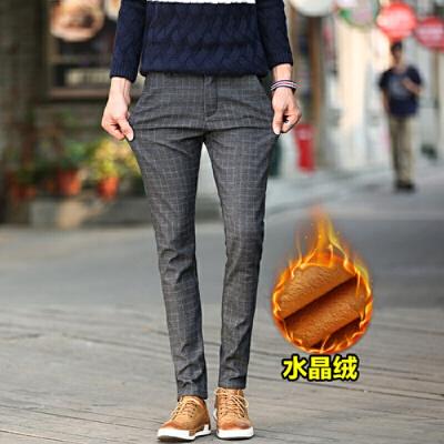 男裤子韩版潮流新款秋冬季青年修身小脚男士加绒加厚休闲裤 一般在付款后3-90天左右发货,具体发货时间请以与客服协商的时间为准