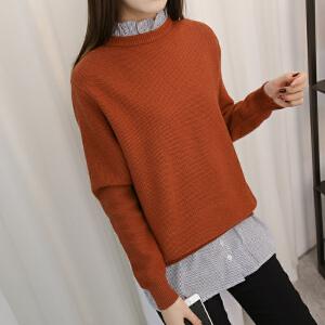 春装女中学生韩版中长款衬衫领拼接假两件毛衣少女甜美打底针织衫