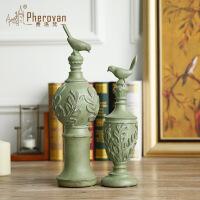 美式田园风格仿古做旧绿色小鸟花纹摆饰婚庆树脂工艺摆件结婚礼品 一套两个价格