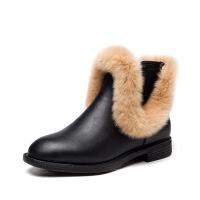 秋冬新款女鞋真皮短靴貂毛平底加绒棉靴百搭靴子裸靴