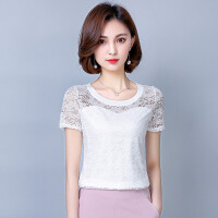 夏装白色t恤女短袖女2018新款潮韩范女装雪纺衫女修身蕾丝上衣女