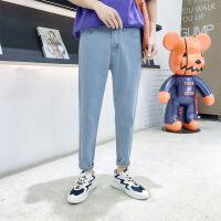 九分牛仔裤男薄款修身韩版潮流9分小脚裤子男士