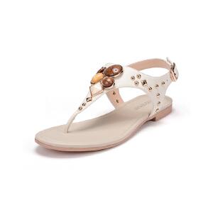 富贵鸟简约防滑平底女士人字拖 夏季学生罗马凉鞋夹趾凉拖鞋