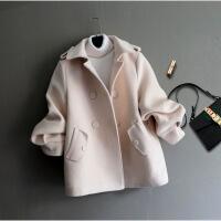 秋冬新款韩版显瘦时尚短款毛呢外套女小个子学生反季呢子大衣 米白色 X