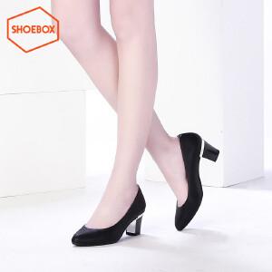 达芙妮旗下SHOEBOX/鞋柜女鞋尖头高跟女鞋休闲粗跟方跟单鞋工装鞋