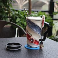 创意办公室家用简约个性陶瓷马克杯大容量咖啡杯带盖勺早餐泡茶杯