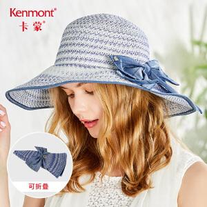 卡蒙大檐帽太阳帽女夏出游帽子海边沙滩帽可折叠波西米亚度假草帽3558