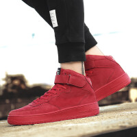 冬季高帮休闲韩版潮流板鞋厚底潮鞋红色男鞋时尚个性红鞋社会小伙
