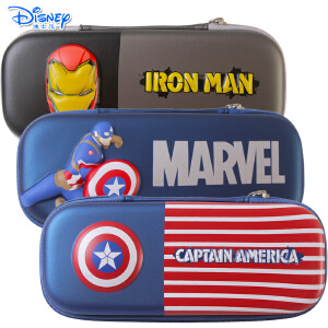 Disney迪士尼美国队长钢铁人儿童小学生铅笔盒大容量3D双层立体压模笔袋