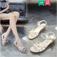 坡跟凉鞋女仙女风时尚韩版百搭学生抖音同款厚底鞋舒适一字带女鞋