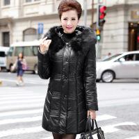时尚新款妈妈装冬装中老年服装纯色大毛领PU皮棉衣外套