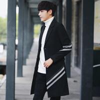 潮牌男装2017秋冬新款毛呢大衣韩版中长款呢子大衣风衣外套