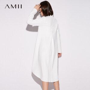 Amii[极简主义]立领连衣裙2017秋装新款简洁修身弧形下摆中长裙
