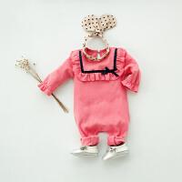 婴儿连体衣服女宝宝新生儿哈衣纯棉潮款外出服8夏季睡衣1长袖5