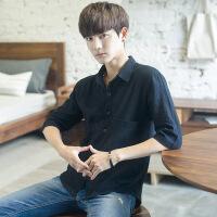 男士短袖衬衫韩版宽松夏季学生五分袖潮日系衬衣男青少年薄款休闲