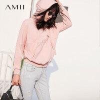 Amii[极简主义]运动风 连帽卫衣女装 2017秋新款趣味标语印花上衣