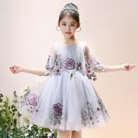 儿童演出服公主裙 女童生日蓬蓬纱裙2018新款小女孩主持人晚礼服