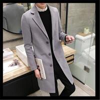 韩观毛呢大衣男版中款韩版修身呢子褂中长款加棉风衣韩式呢绒外套冬季 X