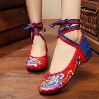 老北京布鞋女平底红色透气休闲民族风绣花鞋蝴蝶系带舞蹈单鞋子 D 红头蓝 绑带蝴蝶