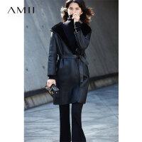 Amii[极简主义]美利奴羊皮毛一体 绵羊皮衣女 连帽翻领中长款外套