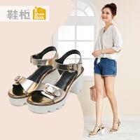 达芙妮集团 鞋柜夏季时尚高跟女鞋一字扣休闲粗跟方跟凉鞋