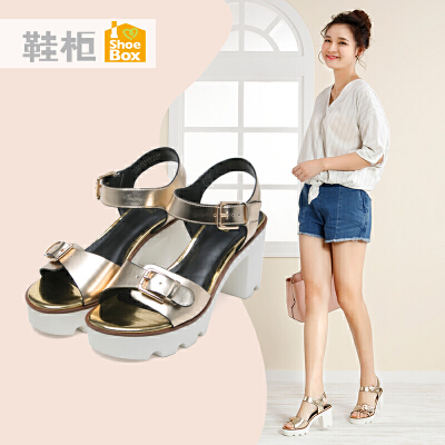 达芙妮集团 鞋柜夏季时尚高跟女鞋一字扣休闲粗跟方跟凉鞋断码不补货 正品保证 支持专柜验货