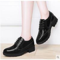 古奇天伦新款百搭韩版单鞋内增高女鞋子中跟粗跟小皮鞋英伦学院风春季CDE8889