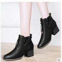 古奇天伦新款女鞋秋冬季百搭粗跟马丁靴英伦风高跟女靴子短靴