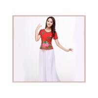 广场舞服装新款新款 春装中老年人定位花表演舞蹈服服装 红 白长纱裙