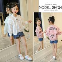 夏季儿童防晒衣2018新款韩版中大童时尚荷叶边字母印花棒球服外套