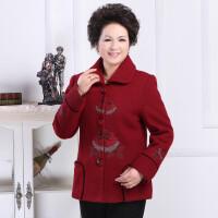 中老年女装冬装新款长袖羊毛呢大衣 时尚妈妈装短款外套