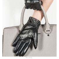 时尚女士真皮手套触屏韩版加绒加厚皮手套蝴蝶结保暖手套 可礼品卡支付