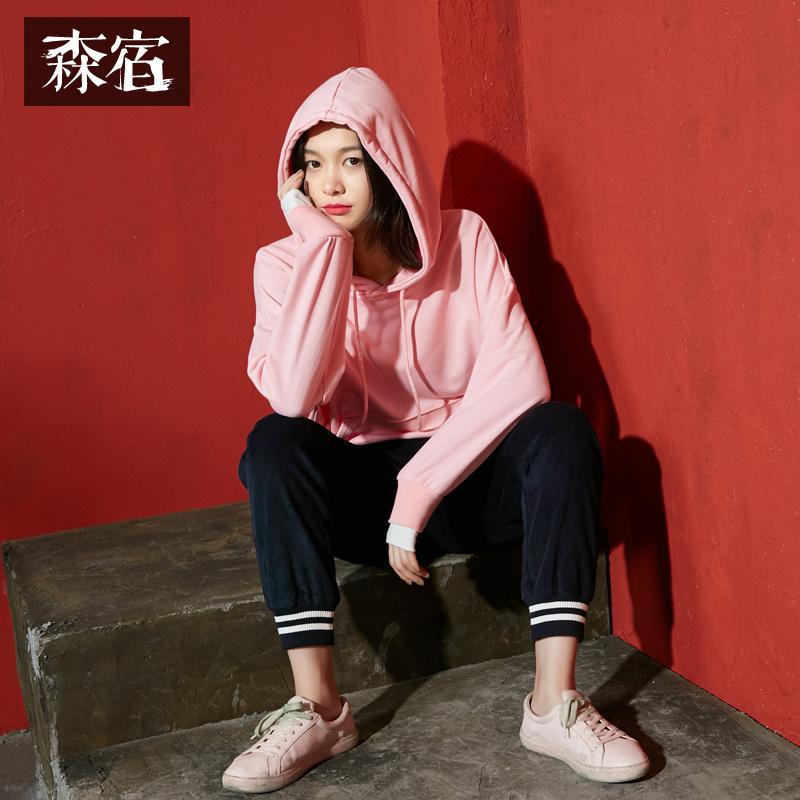 【秒杀价99】森宿P自拍神器秋装新款文艺假两件拼接宽松连帽纯色卫衣女