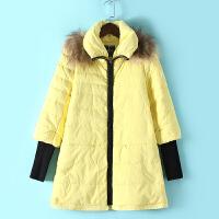 M3冬季新款韩版羽绒服 女中长款加厚连帽大毛领 显瘦外套女潮0.85