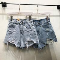 韩国ulzzang2018春装款qiqi磨破烂高腰显瘦阔腿牛仔裤女纯色短裤