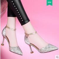 莱卡金顿新款夏季凉鞋尖头细跟高跟凉鞋韩式百搭休闲鞋上班女单鞋6469