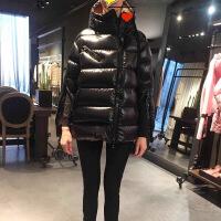 冬装新款茧型连帽斜拉链羽绒服女加厚袖口拉链宽松显瘦鹅绒外套女 黑色