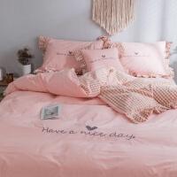 家纺床上用水洗棉四件套1.8m纯色格子床品简约床笠床单款被套 have a nice day水洗棉-粉色