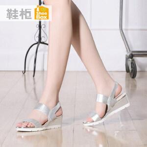 达芙妮旗下shoebox鞋柜新夏季时尚中跟女鞋简约平底休闲坡跟凉鞋1116303260